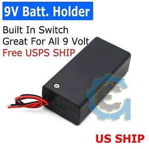 10Pcs 9V Volt PP3 Battery Holder Box DC Case With Wire Lead ON//OFF Switch Cover