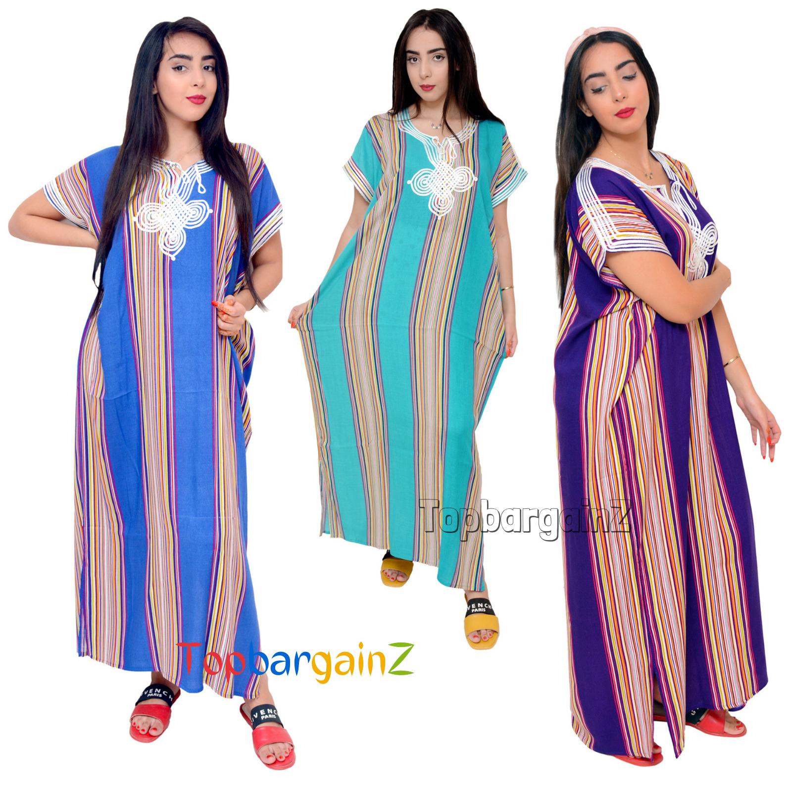 Moroccan Kaftan Dress Casual Women Long White Embroidery Short Sleeves Eid Gift