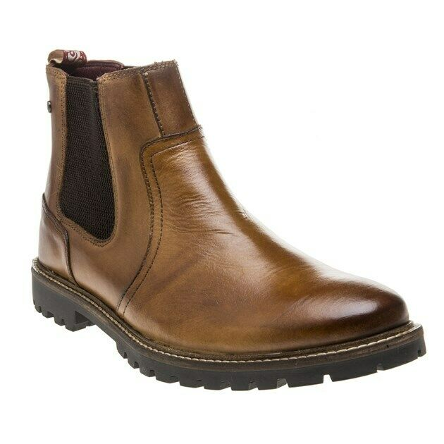 New Mens Base London Tan Wilkes Leather Stiefel Chelsea Lace Up