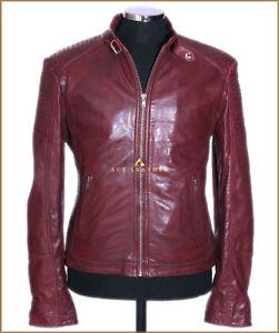 07d583a250 Leo Cherry Red Men s New Designer Biker Style Real Soft Lambskin ...