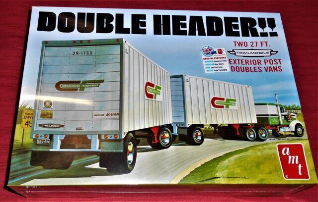 Double Header 2 Tandem Van Trailer 2 Anhänger 1:25 AMT Model Kit Bausatz AMT1132
