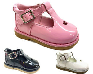 New-Kids-Infants-Baby-Girls-Heart-Diamante-Wedding-Party-Patent-Toddler-Shoes