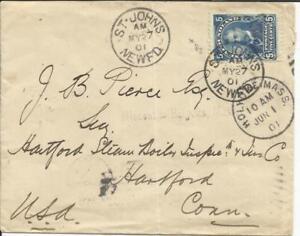 Newfoundland SG#90(single frank) St John''s MY/27/01 to USA, MISSENT to