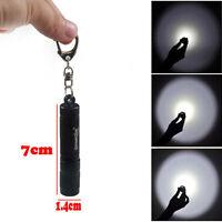 Mini CREE LED Q5 1200 Lumen Lamp Aluminum Flashlight Torch Straight AAA Black