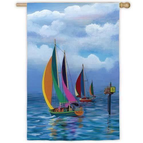 """House Flag 132017 28/"""" x 40/"""" Sailboats Regatta"""