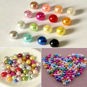 20-500Pcs Rainhow Pastel Colorful Round Glass Imitation Pearl Beads 4mm-12mm