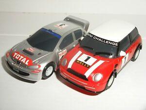 Copieux Micro Scalextric-paire De Rallye Voitures-peugeot 206 & Bmw Mini (rouge) - Nr. Comme Neuf-afficher Le Titre D'origine Cool En éTé Et Chaud En Hiver