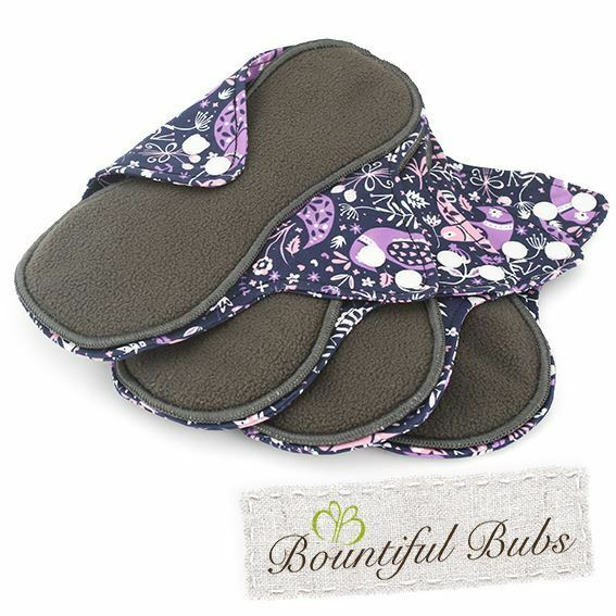 Reusable, Washable Organic Bamboo Cloth Pads. 4 pack. Lge. Purple Peace