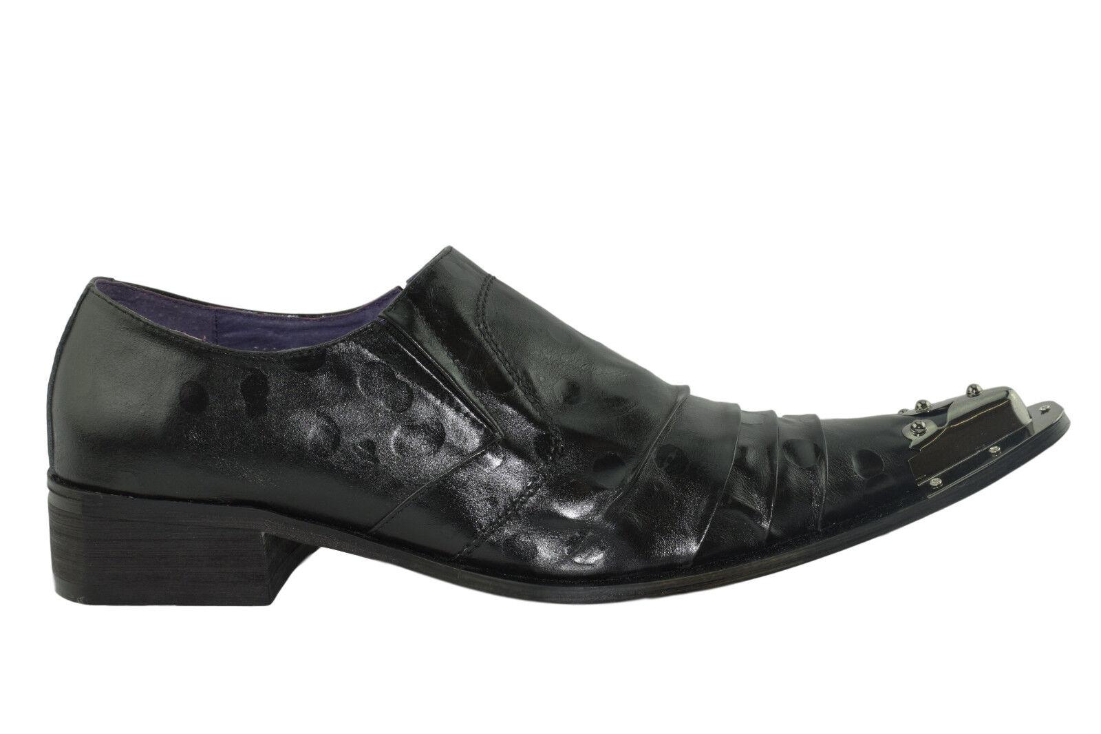 Gucinari Adillo Black Leather Steel Toe Cap Slip On