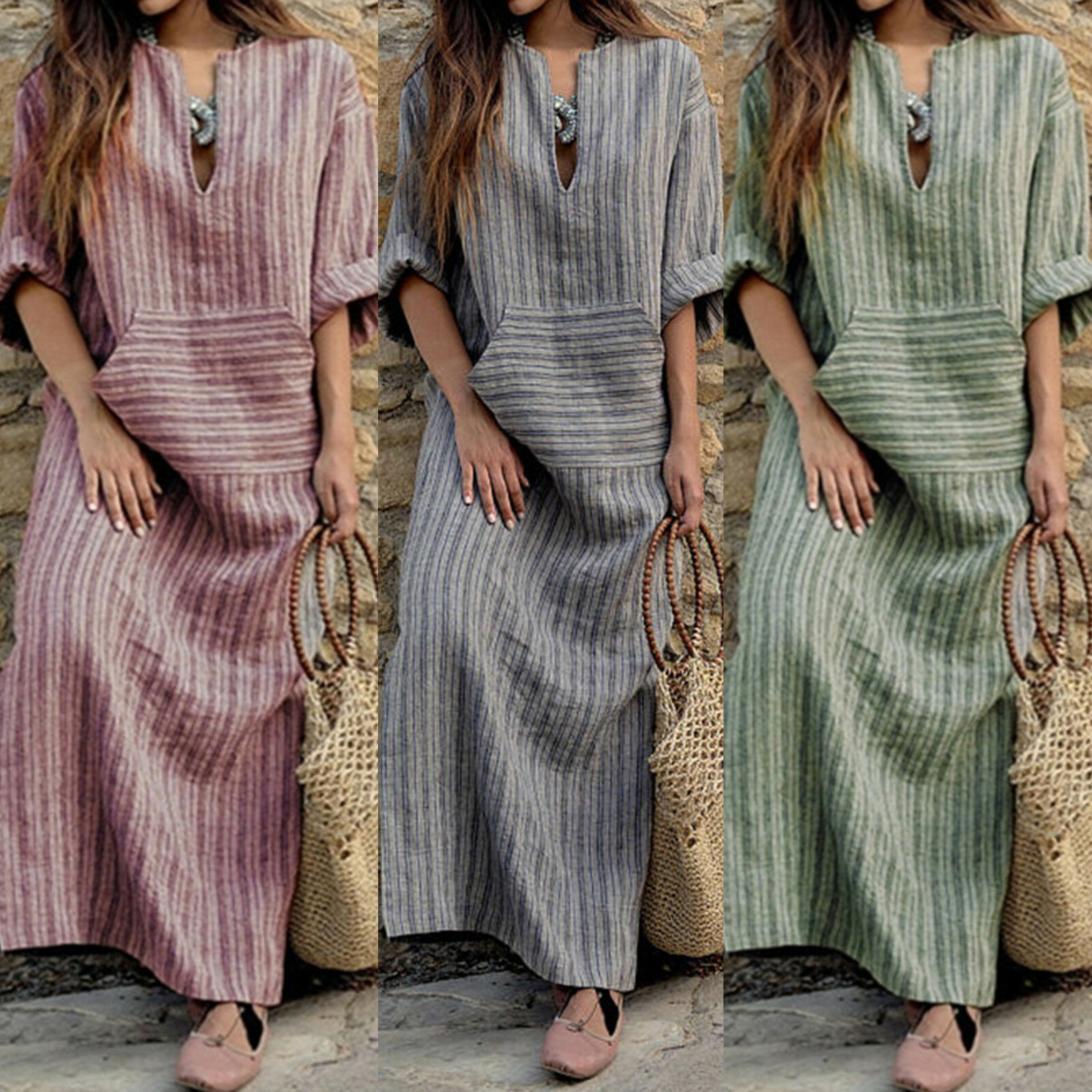 Womens Tunic Plus Size Striped Linen Baggy Loose V Neck Cotton Linen Maxi Dress