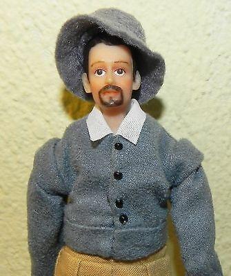 Dollhouse Miniature Doll Man Colonial William Phelps Vinyl SD0038  1:12 Scale