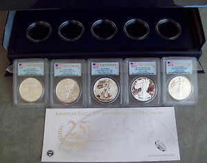 2011-AMERICAN-EAGLE-25TH-ANNIVERSARY-SILVER-5-COIN-SET-graded-PCGS-FIRST-STRIKE