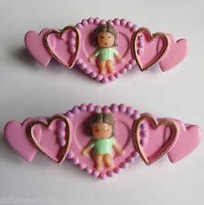 Polly Pocket Mini Pixie's hairslides ebonira con corazones 1990