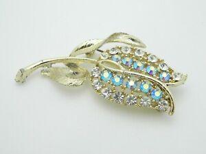 Blue-Aurora-Borealis-Clear-Rhinestone-Large-Gold-Tone-Flower-Pin-Brooch-Vintage