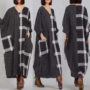 UK-Womens-Long-Batwing-Sleeve-V-Neck-Casual-Loose-Stripe-Plaid-Kaftan-Maxi-Dress