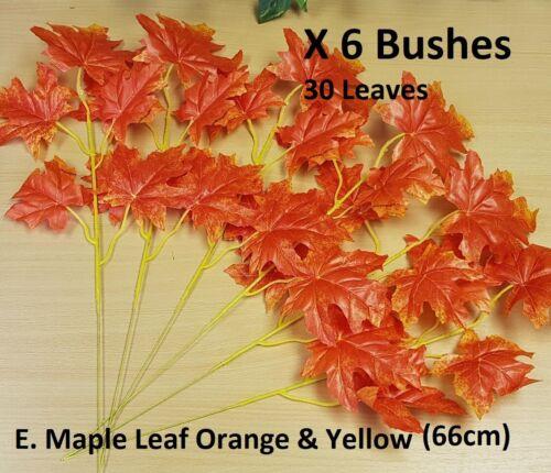 42cm Artificial Autumn Leaves Bush Fall Ivy Leaf Fern Foliage Plant Vine Flower