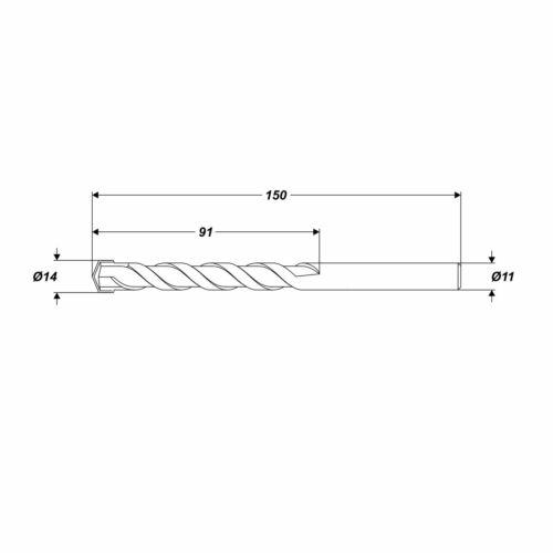 Betonbohrer Ø 16 x 150 mm Steinbohrer Universalbohrer runde Schaft Ø 13,4 mm
