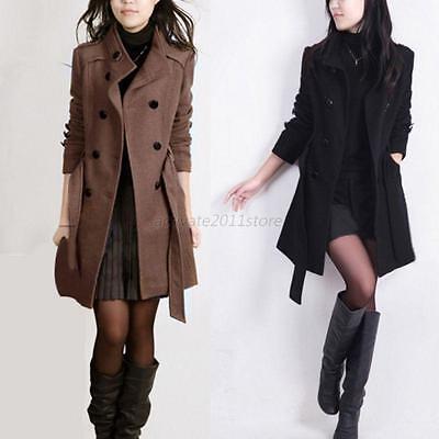 Women Winter Double-breasted Long Slim Trench Parka Coat Outwear Jacket Overcoat