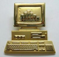Computer Vintage Brooch Pin With Bar Graph On Screen, Gold Plated,