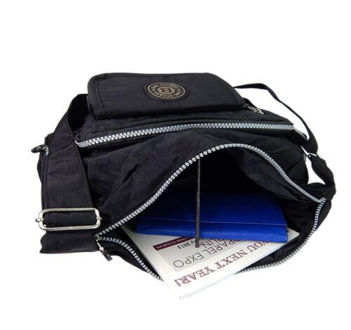 Schultertasche Nylon Sportliche Damen Umhängetasche Bag Street Tasche ~ schwarz