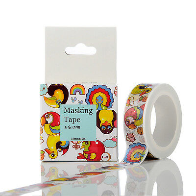 New 15mmx10m Multicolored Animal Washi Tape DIY Scrapbooking Sticker Masking Tap