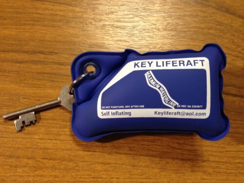 BLUE Floating Key Ring Boat Liferaft Buoyant Soft Self Filling with Air Float