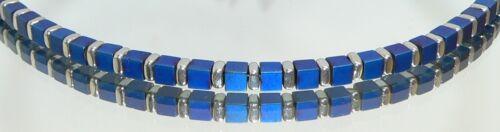 Cubo de la cubo de pulsera hematita separador mate real azul oscuro azul brillo plata 052j