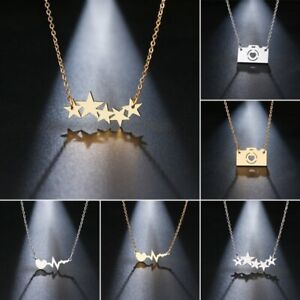 Fashion-Stainless-Steel-Necklace-Star-Camera-ECG-Pendant-Clavicle-Chain-Jewelry