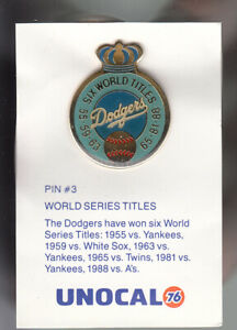 VINTAGE-L-A-DODGERS-UNOCAL-PIN-UNUSED-SIX-WORLD-TITLES