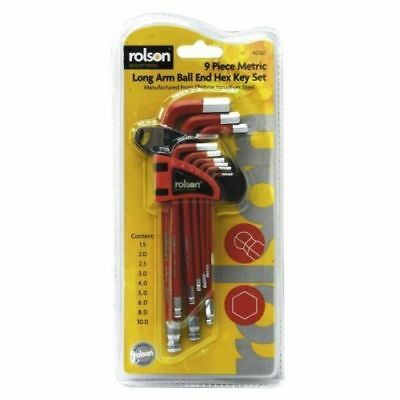 9 PIECE EXTRA LARGE HEX BALL END ALLEN KEY SET 9PC  SIZES 1.5-10mm UK QUALITY