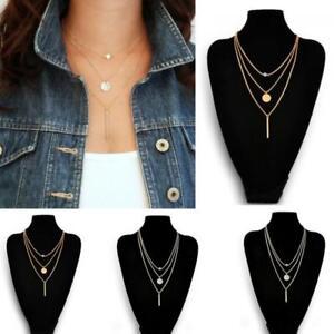 Collar-Triple-Cadenas-Gargantilla-precioso-Diamante-Colgante-Necklace-de-Mujer