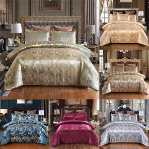 Luxury-Satin-Jacquard-Bedding-Set-Duvet-Quilt-Cover-Flat-Sheet-Twin-Queen-King