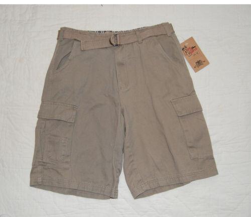 Boys Cargo Shorts KHAKI Beige CANVAS BELT 10 12 14 16 18 CAMP AND CAMPUS