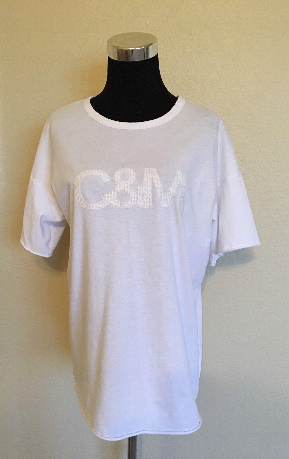 C&M CAMILLA AND MARC Weiß EMBROIDErot LOGO BOYFRIEND COTTON T-SHIRT Größe 2
