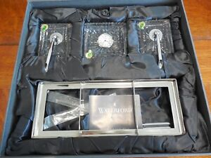 Details About Waterford Crystal Executive Desk Set Pens Clock In Original Box