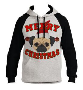Feliz Holiday Cachorro Hoodie Hombres Navidad B1486 Santa Pug Navidad Dog Raglan Gris AdqWFd