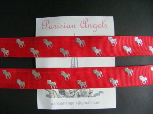 """#4439 Red /& Silver By the Metre Foil Printed Grosgrain Ribbon 22mm 7//8/"""""""