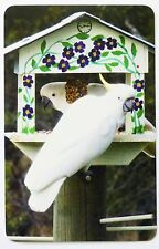 SWAP CARD. SULPHUR-CRESTED COCKATOOS IN BIRD HOUSE. 2015 BOUTIQUE STUDIO CARD