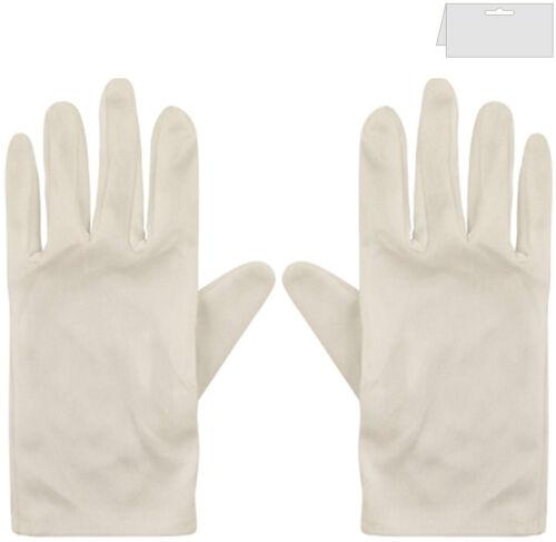White Mens /& Ladies Clown Magician Scream Santa Short Fancy Dress Gloves Black