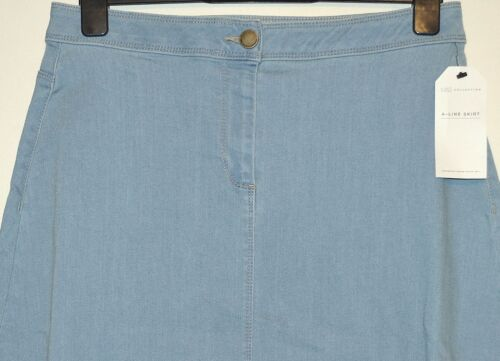 LADIES M/&S COLLECTION A LINE KNEE LENGTH DENIM SKIRT SIZE 12 BLEACHED BNWT