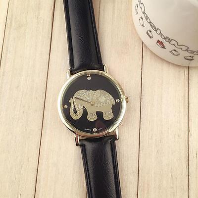 Fashion Stainless Steel Quartz Women's Watch Leather Strap Analog Wrist Watch