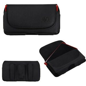Black-Horizontal-Leather-Fabric-Phone-Pouch-Carry-Case-Magnetic-Closing-Flip