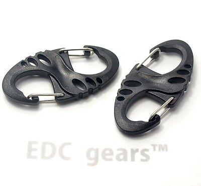 15pcs  black EDC gear S Ring biner 8 Ring Carabiner KeyChain Lightweight gift