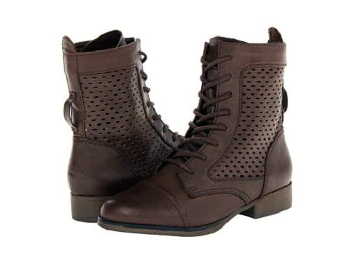 Madden Girl Addyson ankle boot lace up Braun 8 Med NEU