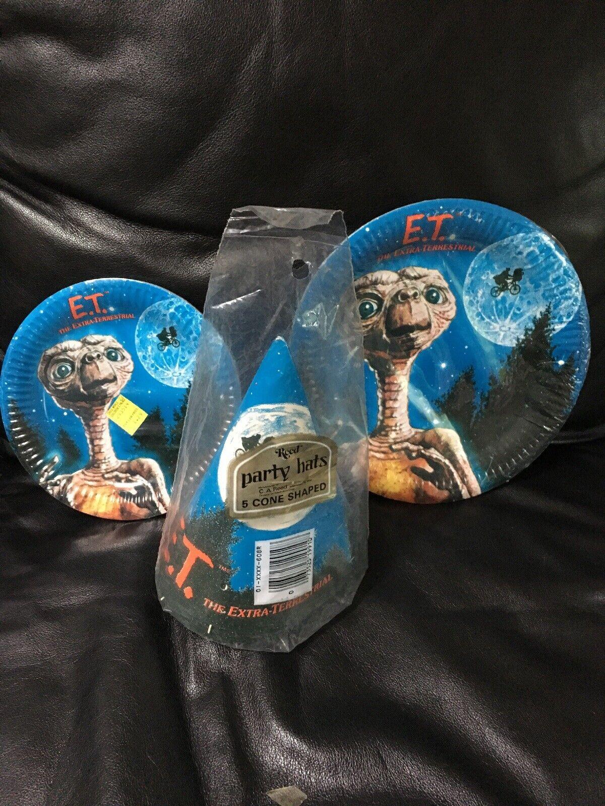 Vintage único E.T. placas de papel de TERRESTRIAL THE EXTRA y Fiesta Sombreros por REED