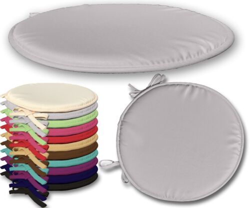 Round Grey Seat Pad for Kitchen Chair Garden Chair Patio with Tie-On Pack of 1
