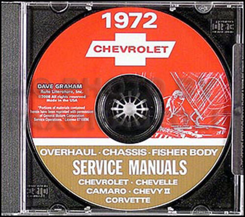 1972 CD Shop Manual Set Chevelle Monte Carlo El Camino Malibu Concours Chevrolet