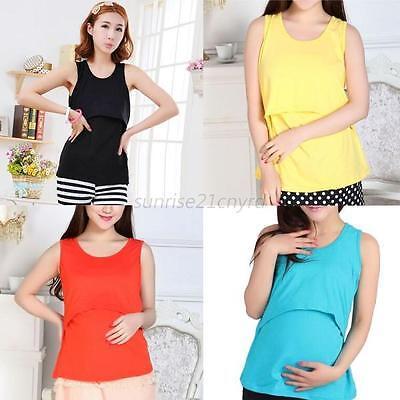 Maternity Clothes Nursing Tops Breastfeeding Nursing Shirt Vest Top 10 Color U64