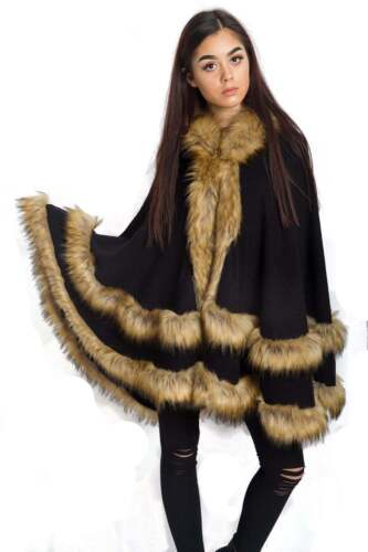 New Womens Ladies Double Layered Hooded Faux Fur Poncho Cape Colours Size UK8-22