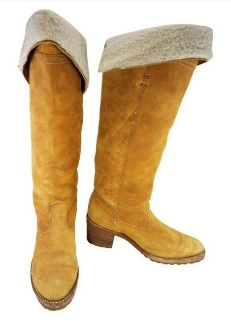 DINGO WOMAN CAMPUS MUSTARD bottes TALL SUEDE  SHERPAS LINING  VINTAGE Taille 8 M